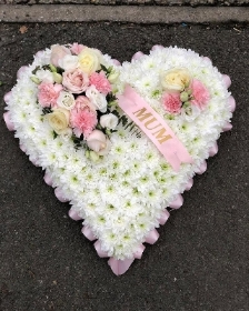 Classic White and pink Heart with mum sash
