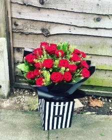 Extra Large Heavenly Red Rose Hand tied.
