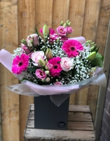 Pink Radiance Hand tied With Belgian Chocolates