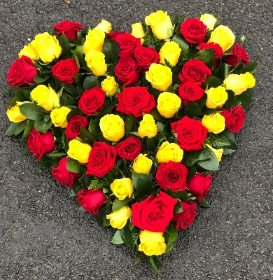 Rose heart yellow and red